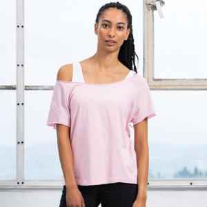 MAM129 Flash Dance T-shirt Cotone Organico Spalla Scoperta Manica Corta Donna