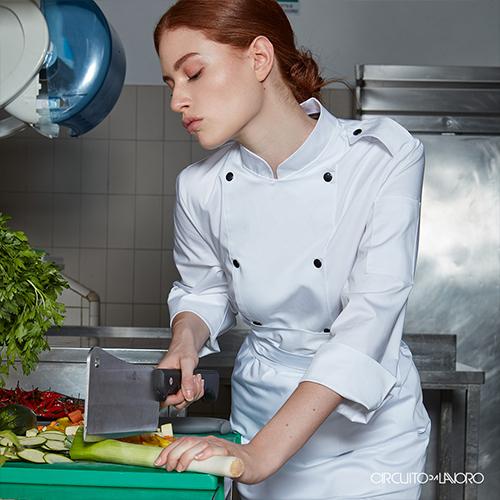 Giacca Cotone Chef Doppio Petto Manica Lunga Donna